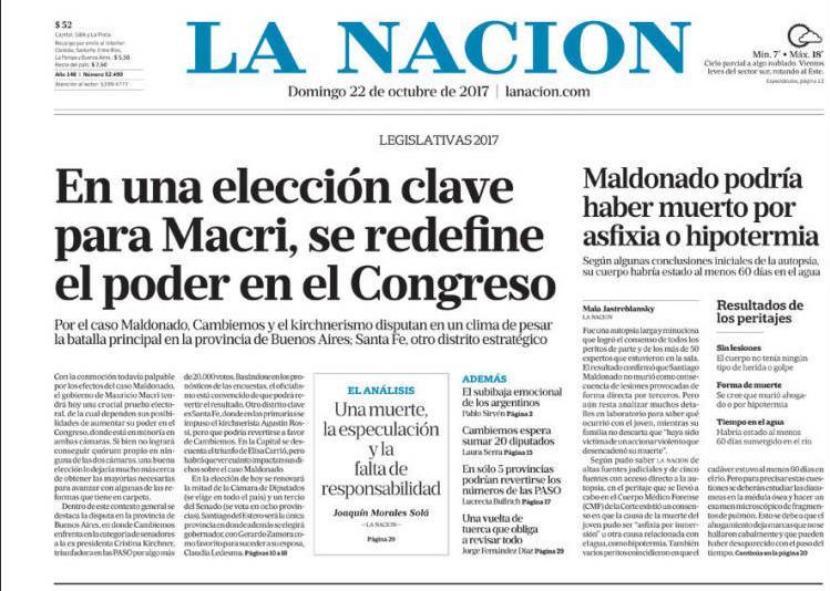 #22Oct CLARÍN   ARGENTINA   Elecciones c...