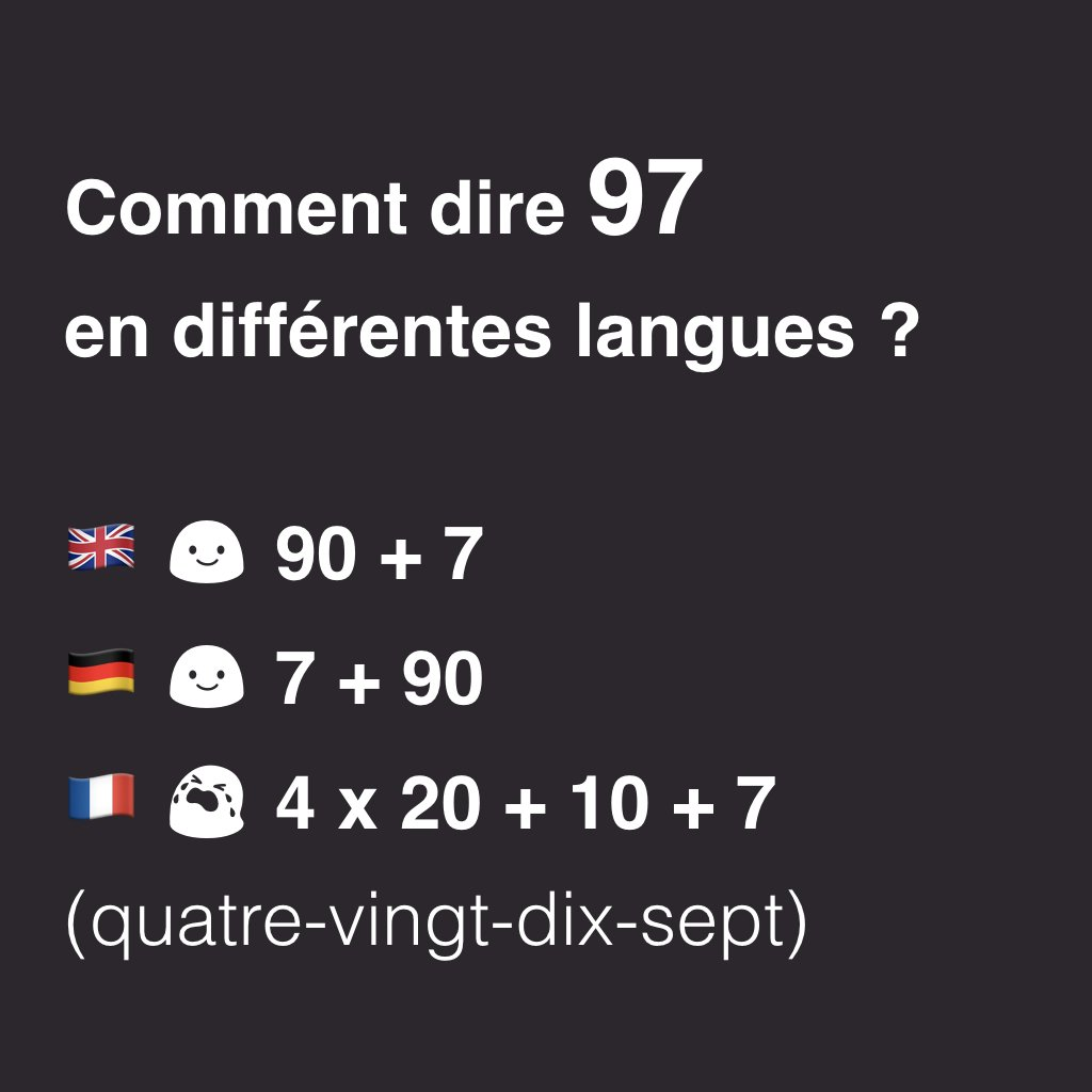 How to say 97 in different languages #french <br>http://pic.twitter.com/nudIo67OtJ