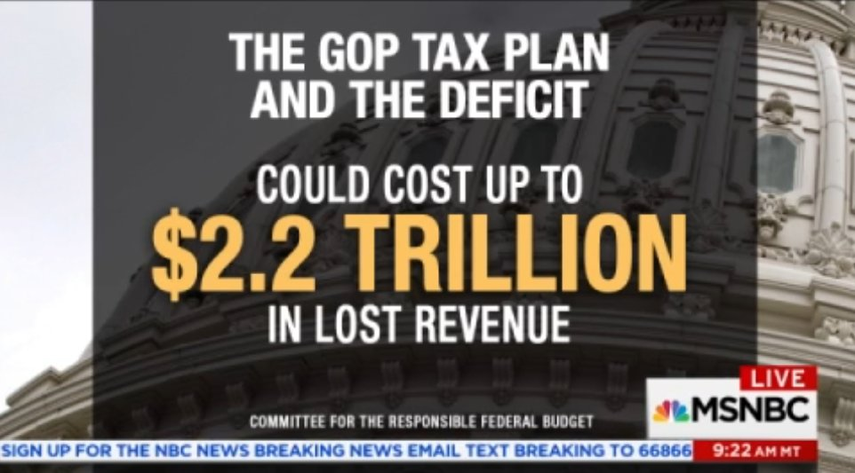 The #GOP tax plan and the deficit could cost up to $2.2 trillion in lost revenue #AMJoy<br>http://pic.twitter.com/cKpVdXiyiq