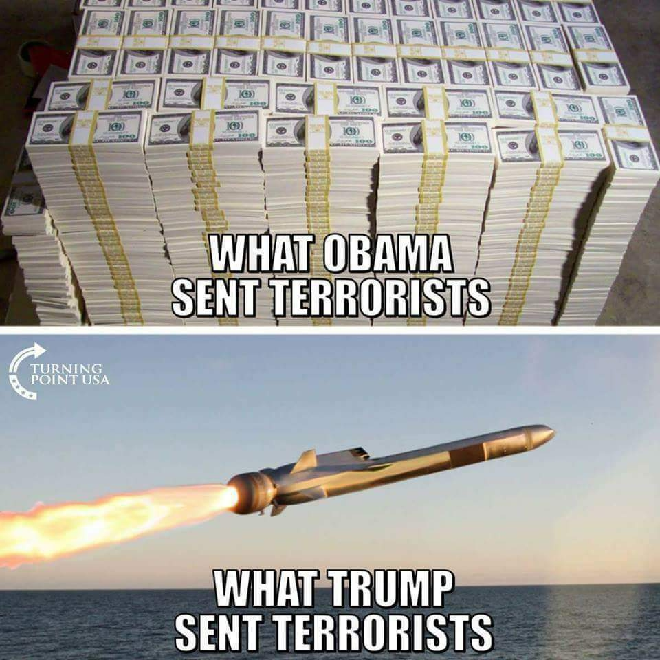There is a vast difference between what a corupt President (@BarackObama) sends terrorists and what a serious President (@realDonaldTrump) sends terrorists. See the difference? I think you do... #MAGA #SundayMorning #AMJoy #tcot<br>http://pic.twitter.com/PR9UBdRmdw
