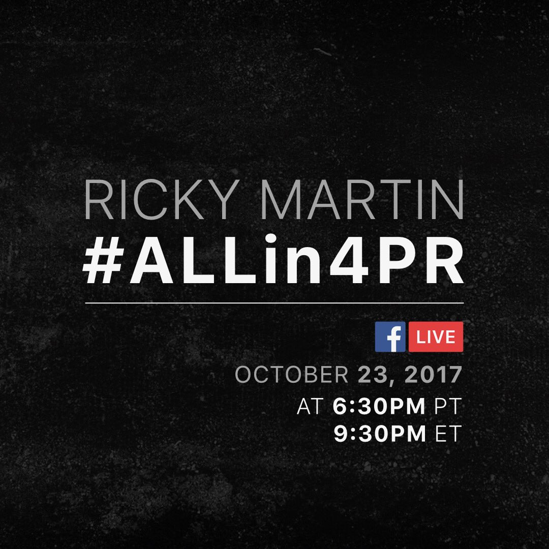 Join me tomorrow on #FacebookLive at 6:30pm PT / 9:30pm ET 🇵🇷  #ALLin4PR