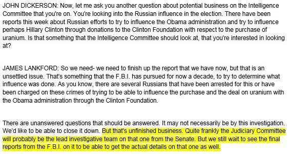 ".@SenatorLankford on whether Senate will investigate uranium one: ""unfinished business,"" need to see final FBI report"