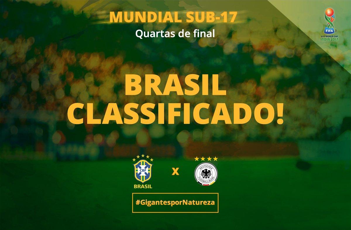 RUMO AO TÍTULO! #Brasil vence a Alemanha por 2 a 1 e segue vivo na conquista da #CopaDoMundoSub17 🇧🇷🇩🇪#GigantesPorNatureza