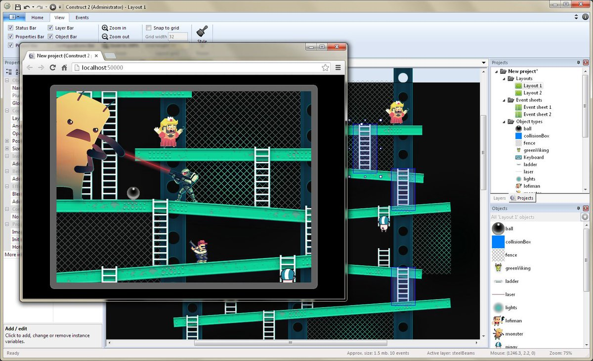Tweet us the link to play your #construct2 game.  #IndieDev #GameDev #IndieGame #IndieGameDev #assetstore #pixelart #gamedesign<br>http://pic.twitter.com/mKYyLRMxyP