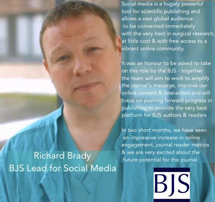 Richard Brady, @BJSurgery lead for #socialmedia, explains the remit of his role at the journal and impact of #SoMe on #surgicalresearch<br>http://pic.twitter.com/1vQbC4v1G9