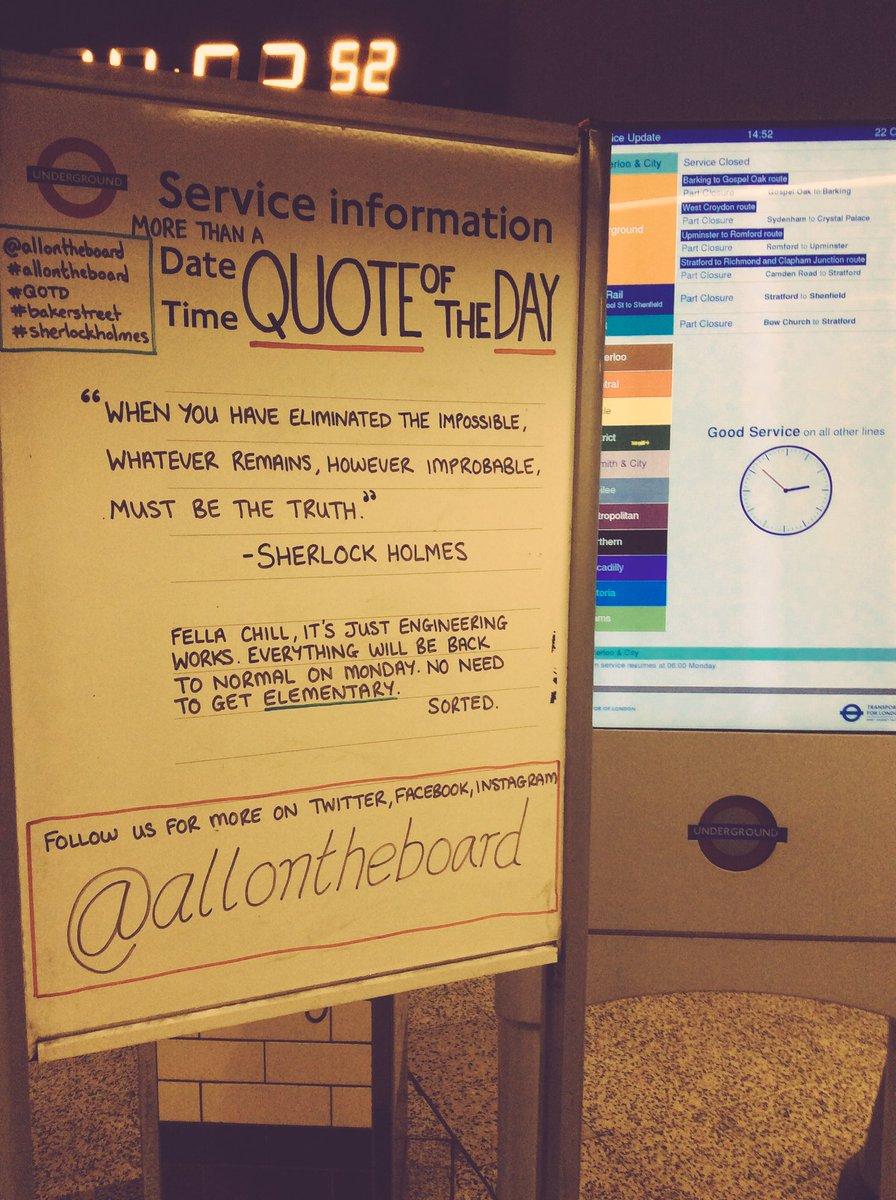 elementary or engineering works? #allontheboard #QOTD #SherlockHolmes #SirArthurConanDoyle #bbcsherlock  #Elementary #CBS #RobertDowneyJr<br>http://pic.twitter.com/nkh4RHgV0k &ndash; à Baker Street Underground Station