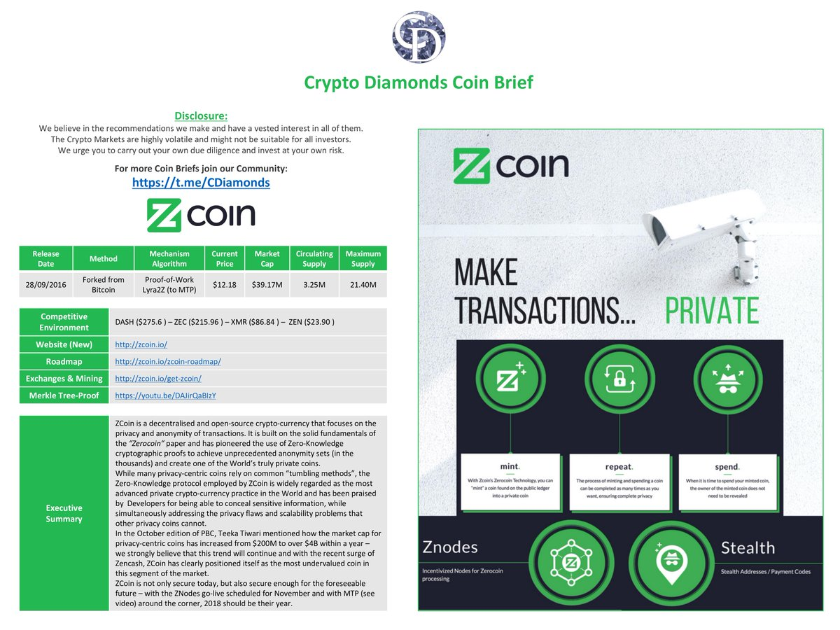 Check out our weekly Coin Brief featuring #ZCoin. Zoom in for more info. $XZC #crypto #blockchain #ico #CryptoDiamondsCB #privacy <br>http://pic.twitter.com/0RxoMUf8Kl