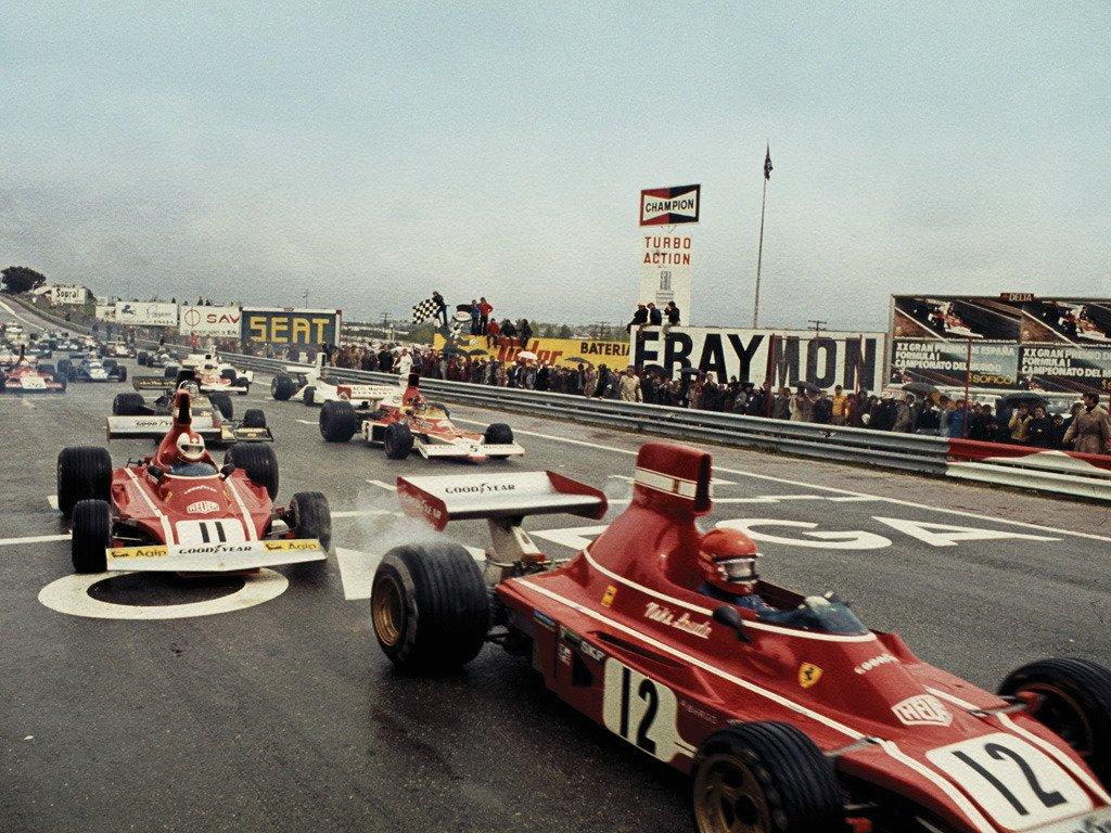 Rough start… Start of the 1974 Spanish Grand Prix at Jarama  Lauda #12, Scuderia Ferrari SpA SEFAC, Regazzoni #11, #Ferrari, Fittipaldi #5, Marlboro Team Texaco, J. Ickx #2, John Player Team Lotus with Peterson #1, John Player Team Lotus out of sight, having a blistering start <br>http://pic.twitter.com/FOyMAoEnjz