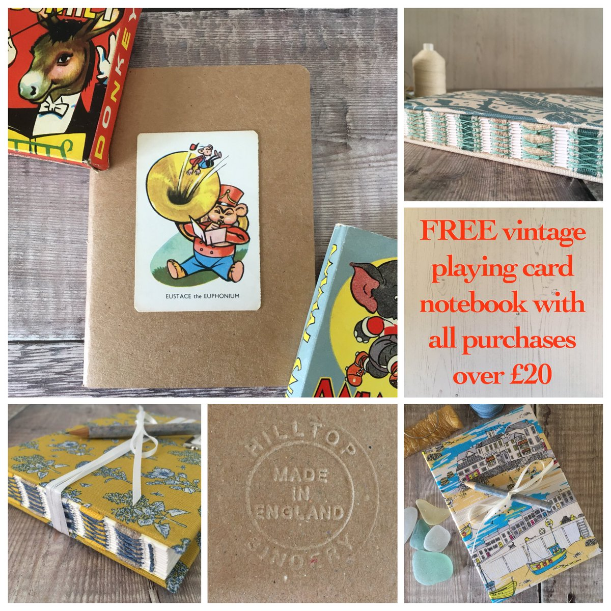 I'm giving away a free handmade notebook with all purchases over £20!  https://www. etsy.com/uk/shop/Hillto pBindery &nbsp; …  #crafthour #freebies #handmadehour<br>http://pic.twitter.com/eo8iUMBlO6