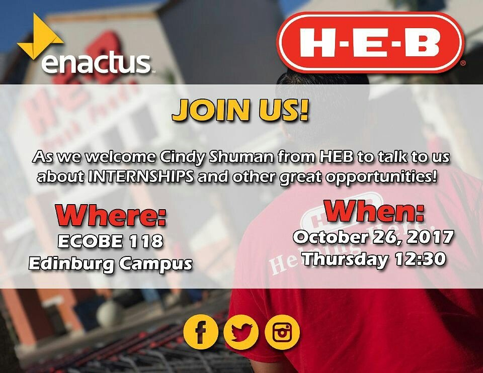 Mark your calendars and join us this Thursday in welcoming HEB speaker Cindy Shuman. #internships #enactus #leadership<br>http://pic.twitter.com/sOOCmLxEGh