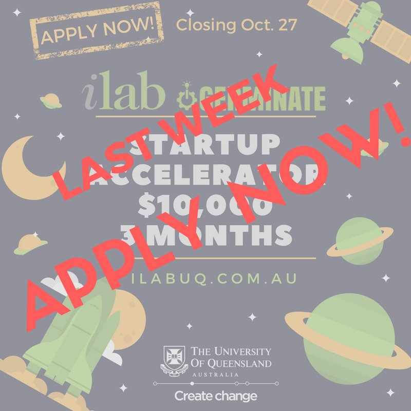 #Entrepreneurship at #UQ? Do not miss on on the closing date for UQ ilab&#39;s #startup accelerator. Last week!  http:// ow.ly/QP4630g3kaO  &nbsp;  <br>http://pic.twitter.com/Mk7DQi0Smt