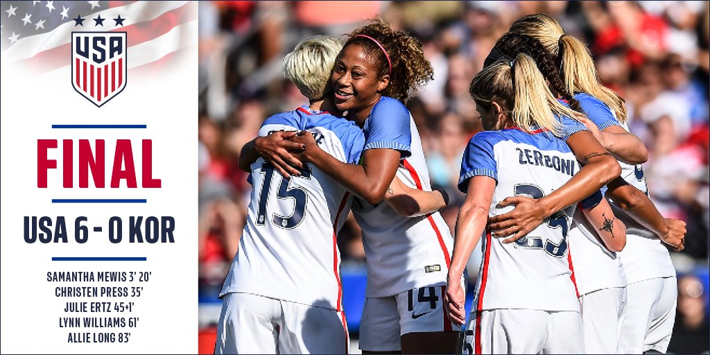 Add another to the win column! The #USWNT runs away with one in Cary. <br>http://pic.twitter.com/2lZMRDu57n
