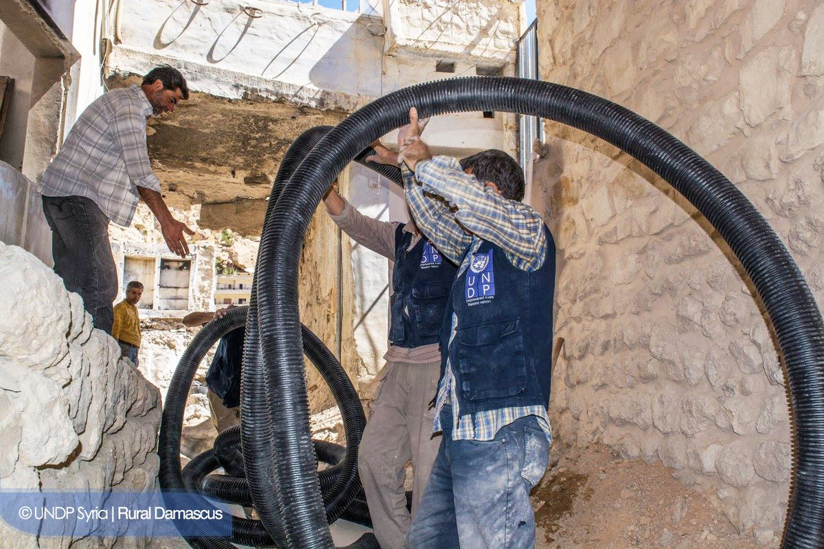 Rehabilitation of damaged infrastructure in #Maaloula, facilitates th/access of 6k ppl 2basic services &amp; creates 75 jobs w/#UNDP&amp; #EU #Syria<br>http://pic.twitter.com/6aQ1fzJCrG