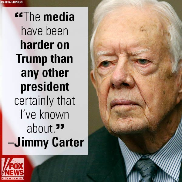 Jimmy Carter: Media tougher on @POTUS than any other president in memory https://t.co/pQ8llu3F4r