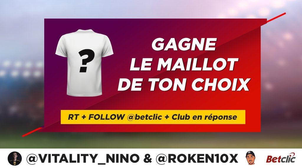 🎁 Gagne le maillot de foot de ton choix ➡️ RT + Follow @Betclic @Roken10x @Vitality_Nino + ton choix en réponse pour participer ⚽️ TAS 24/10