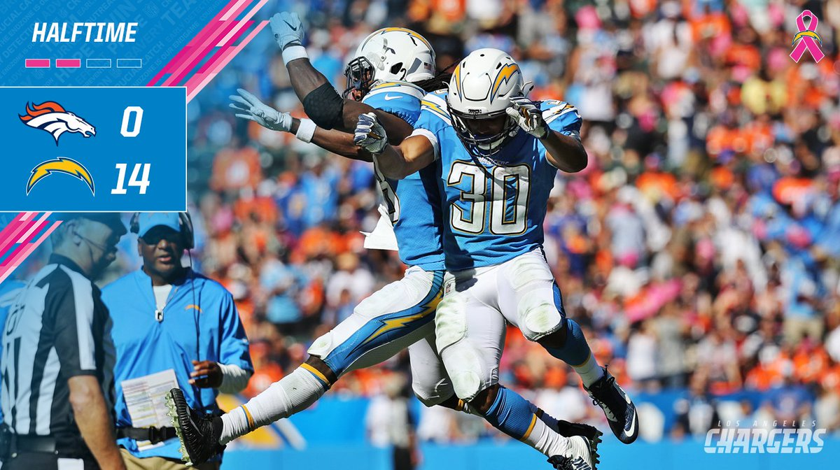 Halftime and the Bolts are up! #DENvsLAC https://t.co/FZQrTdpXLN