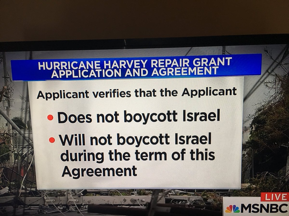"""#MSNBC @GovGregAbbott of Texas says """"Anti-Israel policies are Anti-Texas policies"""" in MAY 2017! 1st Amend. or hurricane relief? lil by lil..<br>http://pic.twitter.com/V4g0trxfWn"""