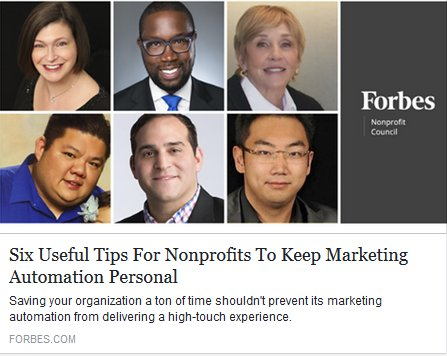 Six Useful Tips For Nonprofits To Keep #MarketingAutomation Personal   https:// lnkd.in/fqhAwr6  &nbsp;  <br>http://pic.twitter.com/LS78vrbuTu