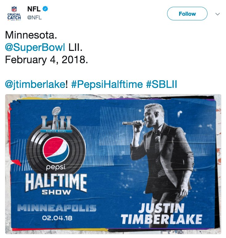 Justin Timberlake will perform at Super Bowl LII halftime show, the NFL and the singer have confirmed via Twitter. https://t.co/zh6WTehpvg