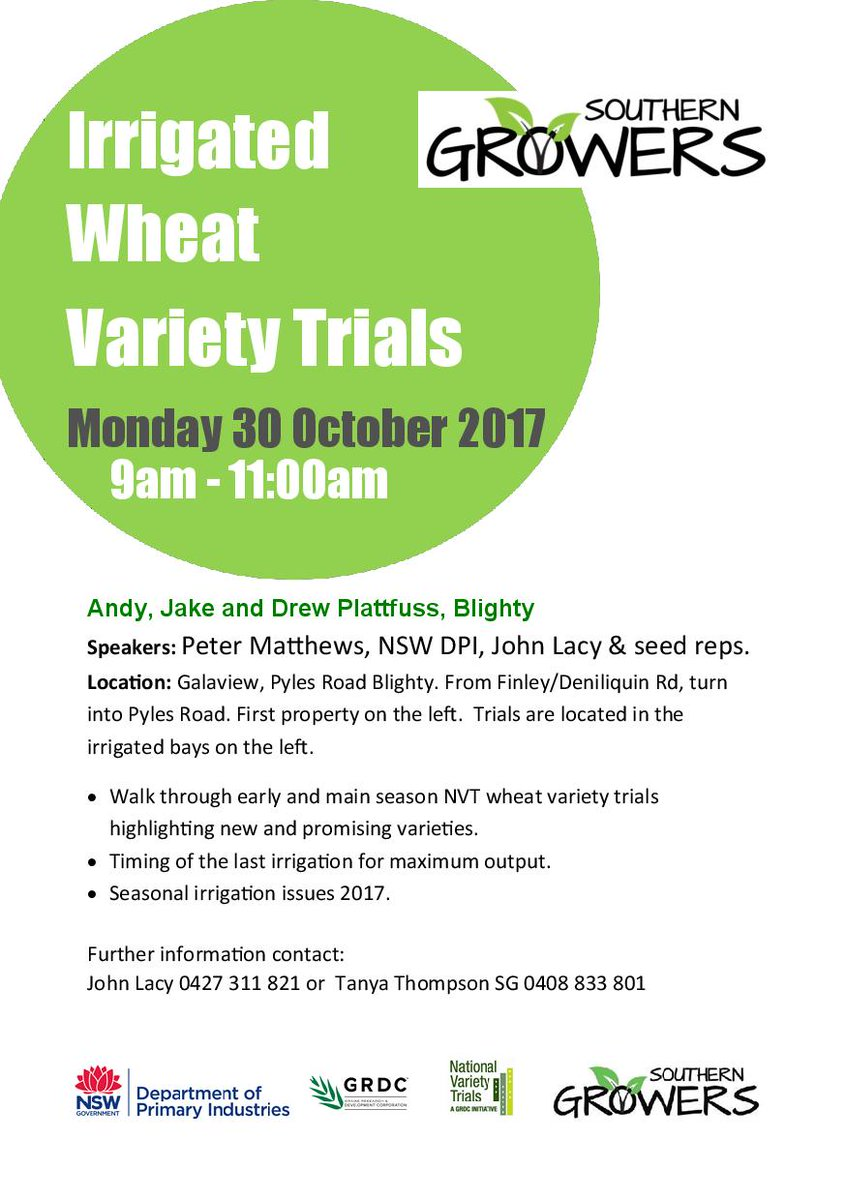 Save the date. 30 October - Irrigated Wheat Variety Trial #irrigation #wheat #southerngrowers #cropping #IVT <br>http://pic.twitter.com/08Puif1Tyj