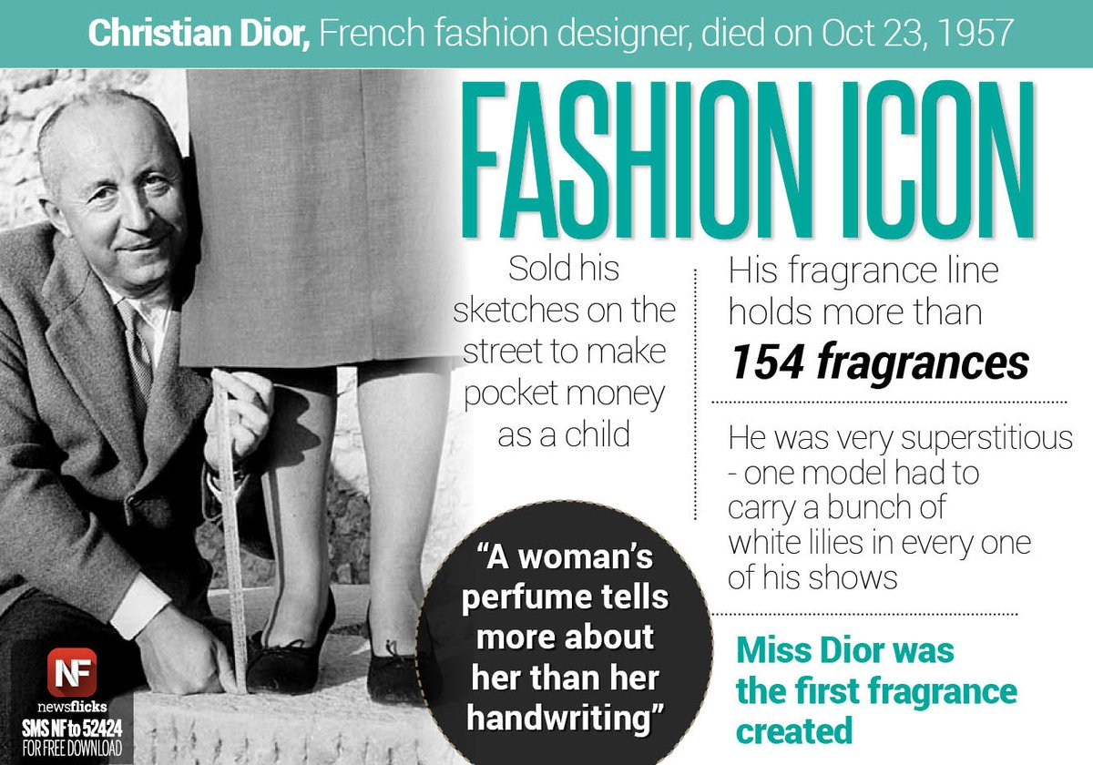 Newsflicks On Twitter French Fashion Designer Christiandior Whose Legendary Work Continues To Inspire Designers Died At The Age Of 52 On Oct 23 1957 Https T Co Ri7i8xzq5v