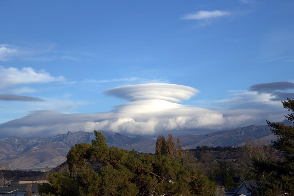 Tom Copling caught this great pic of the Mothership trying to land today!! Lots of Lenticular clouds out today with the strong winds aloft.