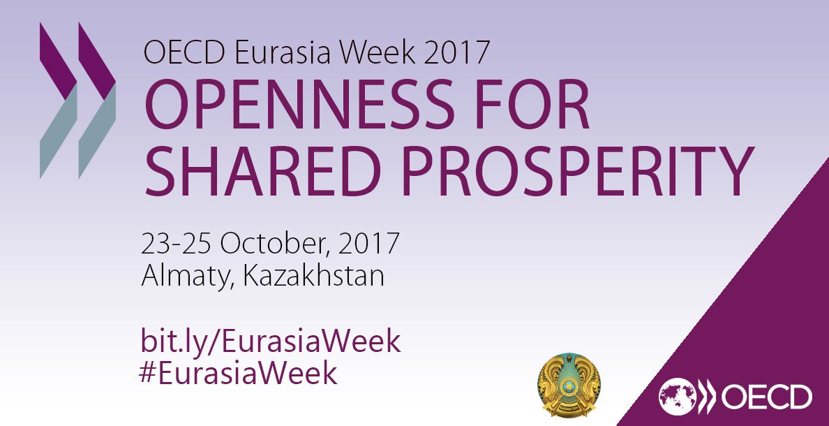 OECD #EurasiaWeek 2017 starts tomorrow &amp; Almaty is ready! Over 450 participants gather to discuss ways to harness the benefits of #openness for all - more on  http:// bit.ly/EurasiaWeek  &nbsp;  <br>http://pic.twitter.com/zxUl7UFDur