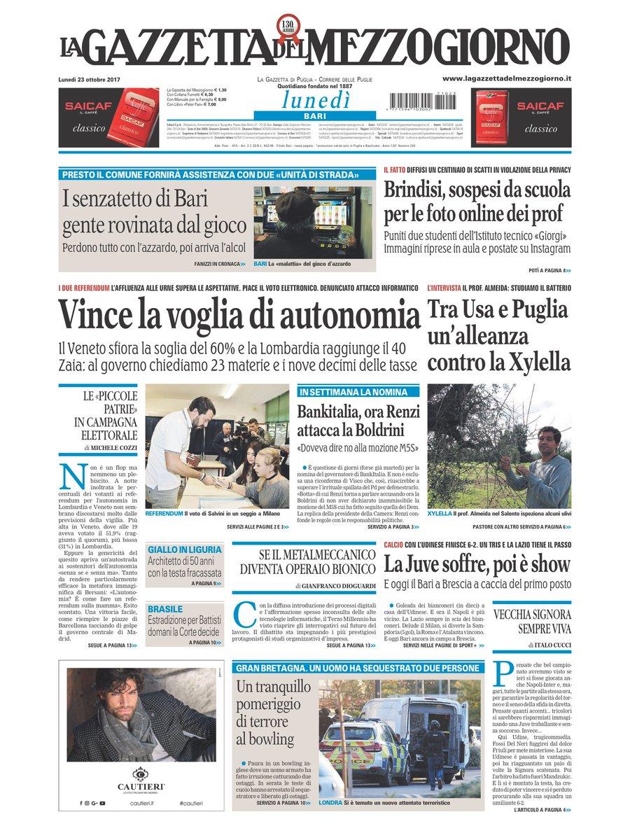 #23ottobre le prime pagine dei quotidiani locali #rassegnastampa https...
