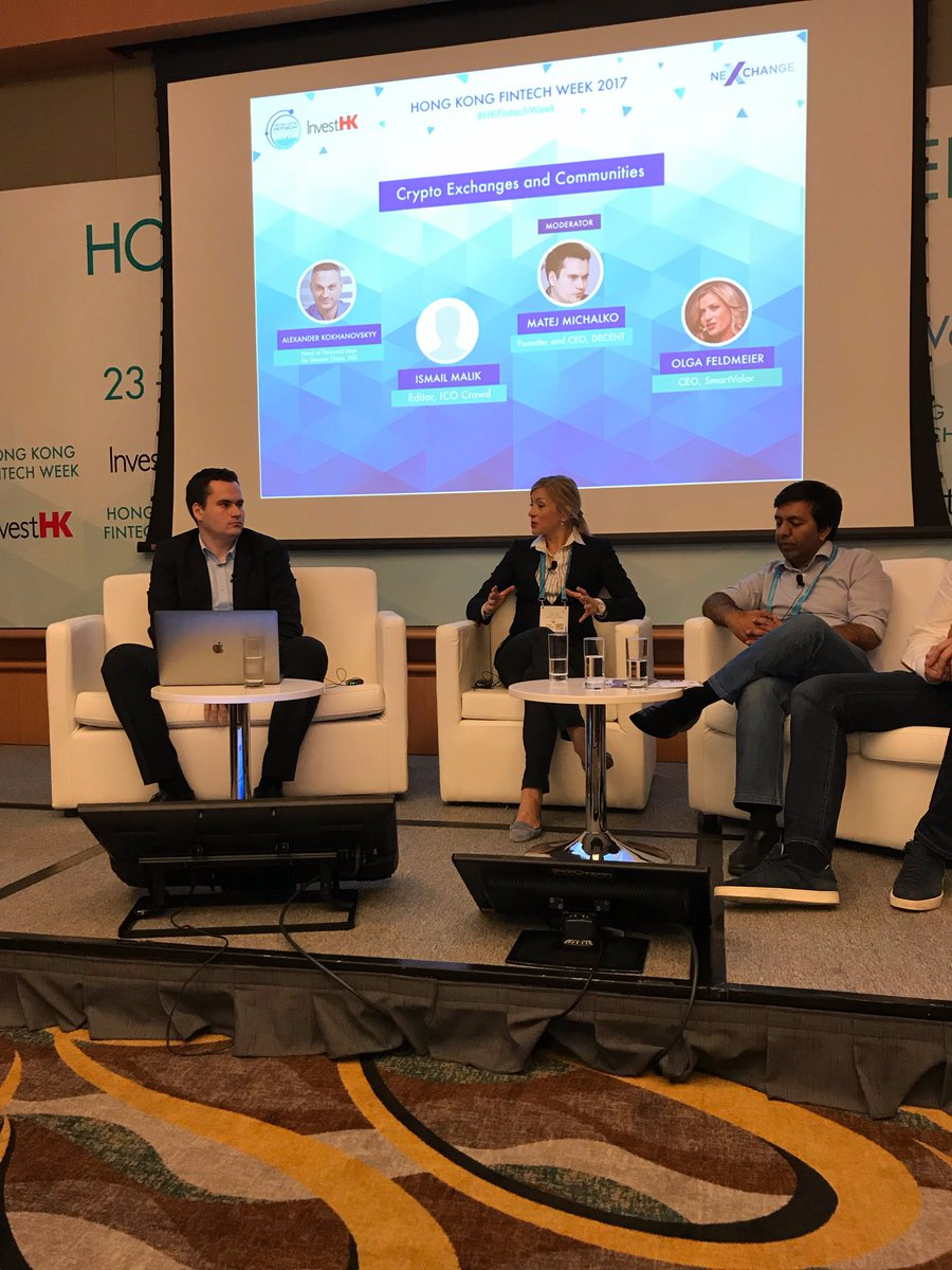 .@OlgaFeldmeier talks #Bitcoin, #PrivateEquity and #Swiss private #banking during &quot;#Crypto Exchanges and Communities&quot; panel #HKFintechWeek<br>http://pic.twitter.com/VLKEAAFwtJ