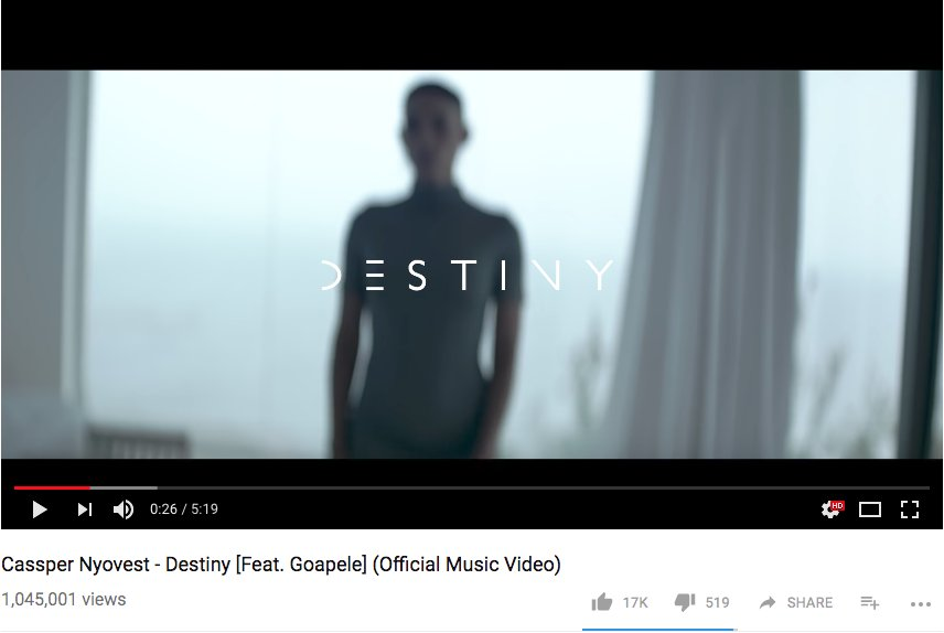 @actioncutkyle @CassperNyovest &amp; @Goapele - &#39;Destiny&#39; is over a million views on #youtube!  https:// youtu.be/VOckmoac8Ic  &nbsp;   #musicvideo<br>http://pic.twitter.com/jPGBbOe2sQ