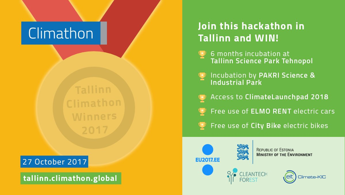Did you know that #Tallinn doesn&#39;t only host #Climathon 2017&#39;s Mainstage, but also has amazing #hackathon prizes? #EU2017EE #EUClimateAction<br>http://pic.twitter.com/ilcnymnKCH