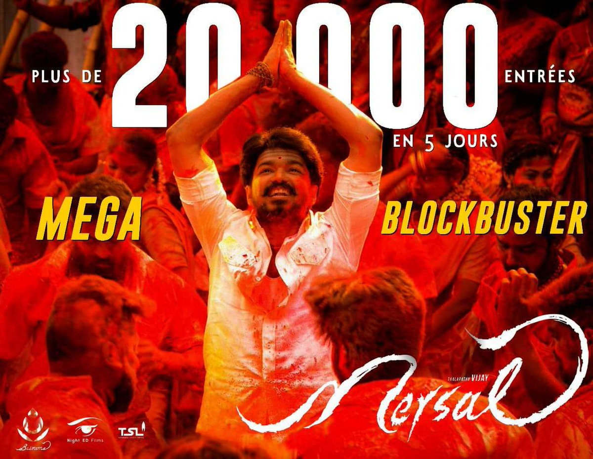 #Mersal  creates RECORD Single day Entries ever in #France with Day 5(Sun) 6724 entries beating #Theri. Total 5 Days Entries 20,183.<br>http://pic.twitter.com/F1VqbKofk1