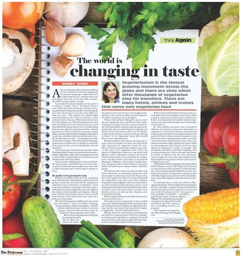 My Article in The Statesman: 'The world is changing in taste' https://...