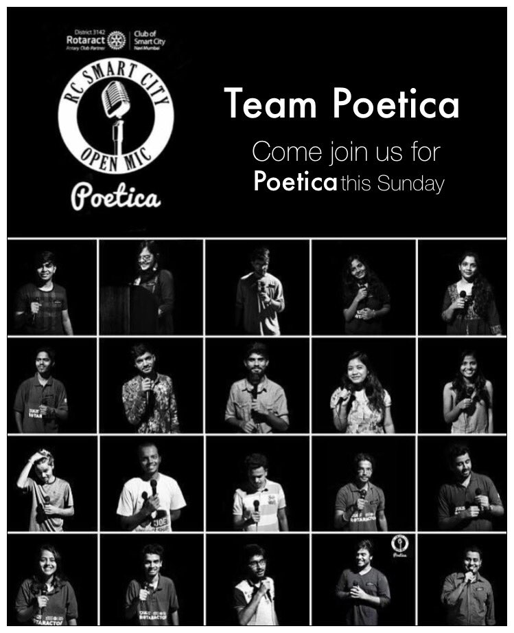 Team #Poetica Come witness our #OpenMic event on 29th October at #Nerul Gymkhana. #Poets, #Singers, #Musicians kindly DM to participate <br>http://pic.twitter.com/N4kokY8U35