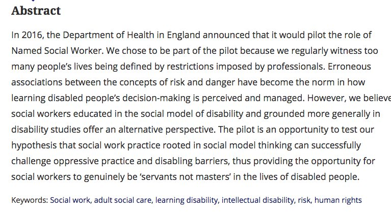 Named social workers – better social work for learning disabled people? @ElaineLJames @HannahnagroM @RobMitch92 #OA  http:// bit.ly/2v38p9X  &nbsp;  <br>http://pic.twitter.com/oCxlpzlaJx