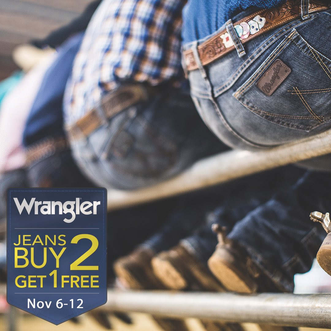 Yes, you heard right! Buy 2 Get 1 Free on all Wrangler Denim starts today until Nov 12.  We are Celebrating the CFR with great savings!