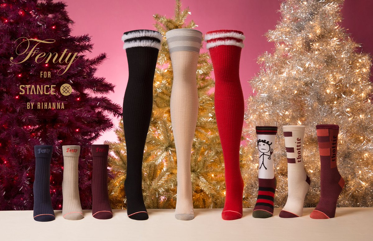 thottie or nice? Tomorrow.. new #rihannaxstance for the holidays are out! (midnight PT tonight at @stance) https://t.co/IC7T2QeKd5