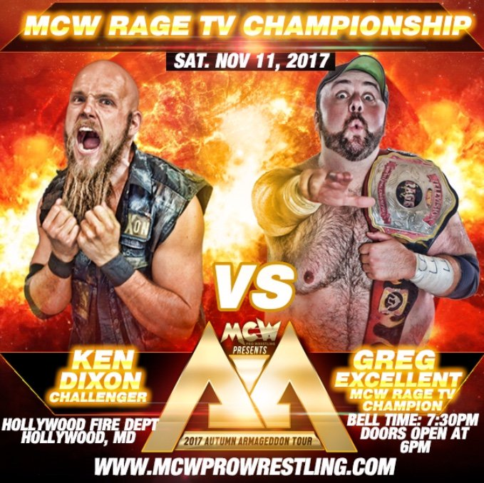 .@The_KenDixon looks for his THIRD @MCWRageTV Title reign Next Saturday in #Hollywood when he faces @GregExcellent!  MCWProWrestling.com