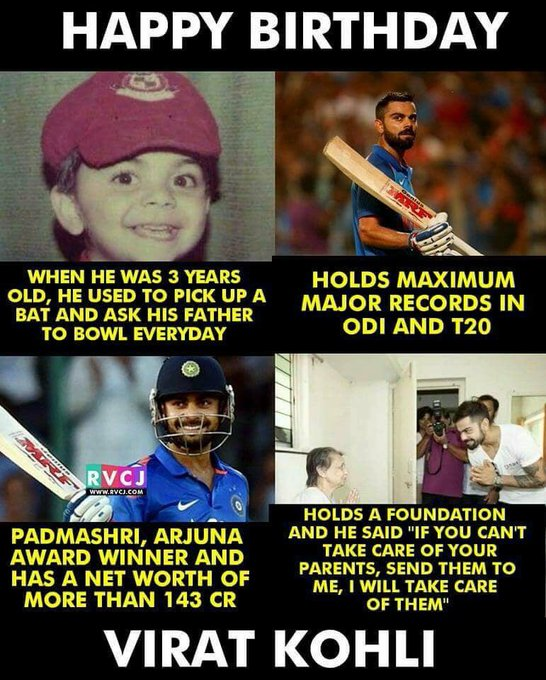 Happy Birthday Virat Kohli :)  A Man With Golden Bat & Golden Heart