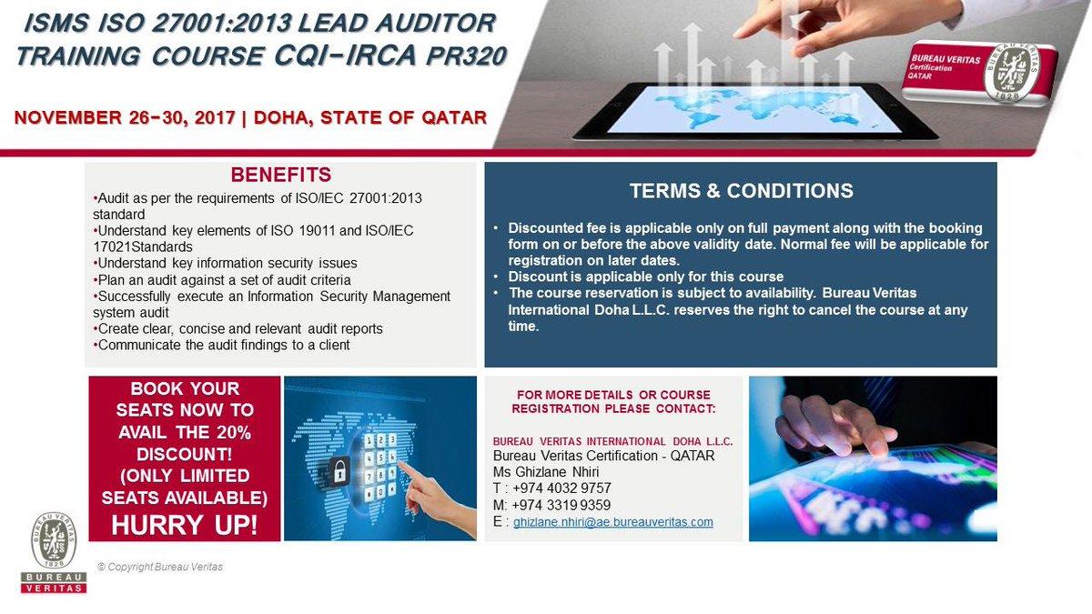 Bureau Veritas Qatar On Twitter November 2017 Isms Iso 27001
