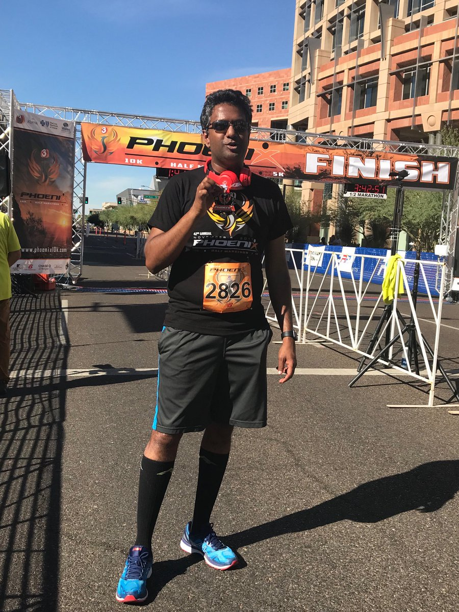 Completed my 25th half-marathon. Thank you @PHX10K for an amazing race!