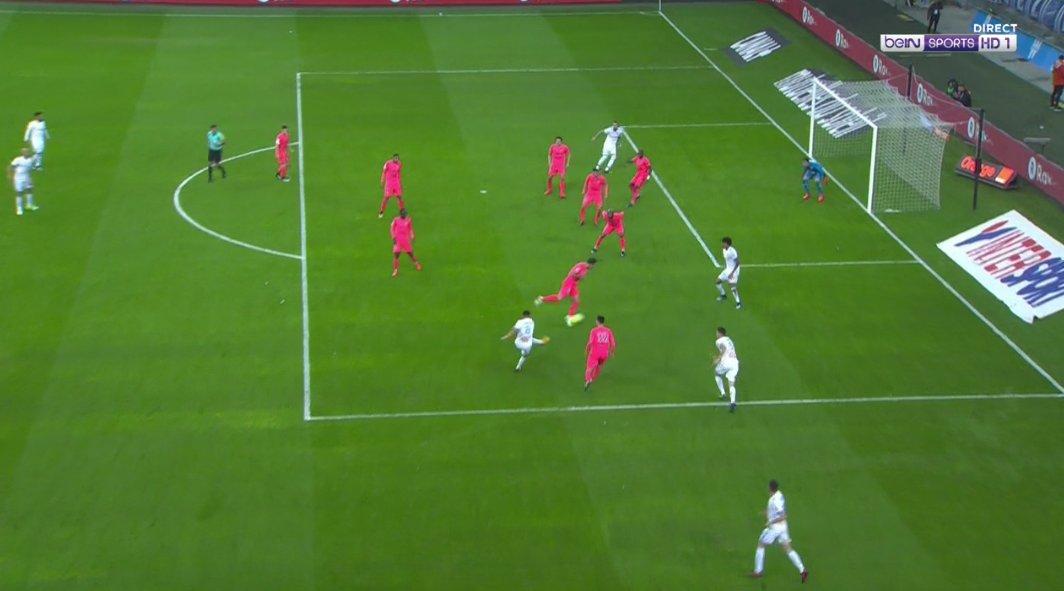 But de #Sanson pour le 3-0 ! #OMSMC<br>http://pic.twitter.com/YrOWauqEAU