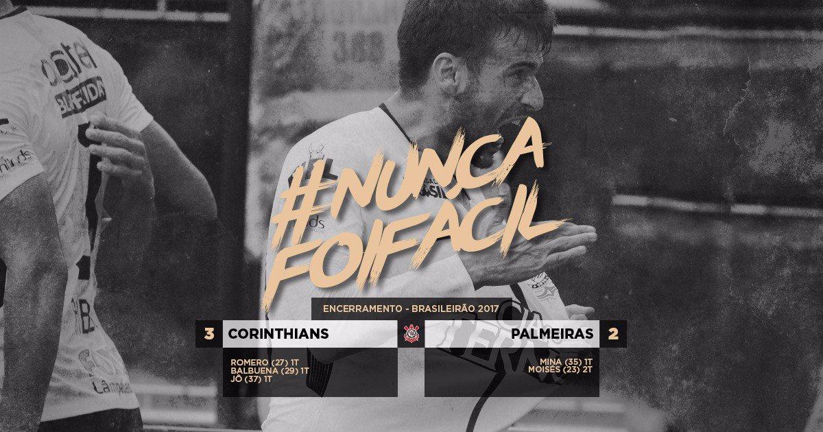 #NuncaFoiFácil Um primeiro tempo arrasador. Um segundo tempo na raça. Nunca vem fácil, mas o Derby foi nosso! Porque aqui é Corinthians!