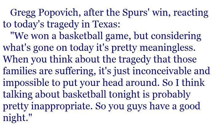Pop for America. He came out postgame, said this to reporters, and walked away.