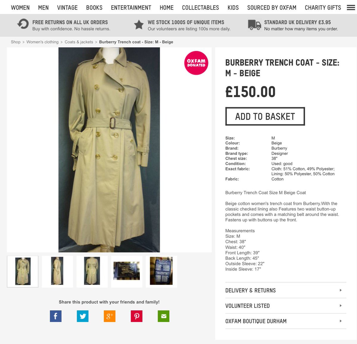 Oxfam Durham City On Twitter Treat Yourself To This Classic Trench