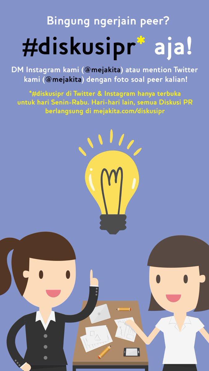 Nah jadi sekarang kalian bisa langsung mention kami 😬 di @mejakita kalau lagi ada yang mau berdiskusi PR!💯🤓 jangan lupa #diskusipr