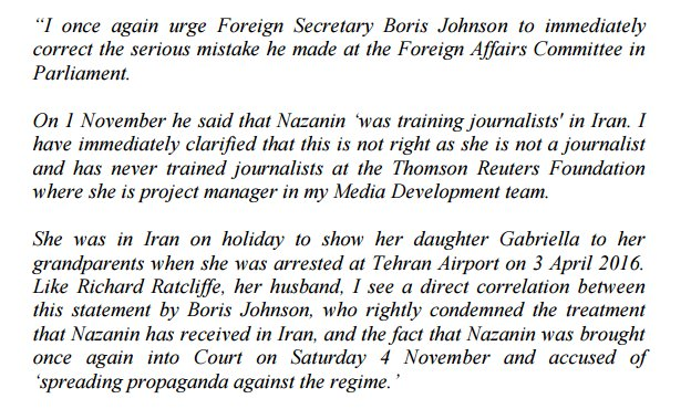 A serious blunder by @BorisJohnson that could have dire ramifications for Nazanin Ratcliffe, British mum held in an Iranian jail. He said she was 'training journalists in Iran'. She was not, and was actually on holiday. Statement from Thomson Reuters Foundation: @foreignoffice