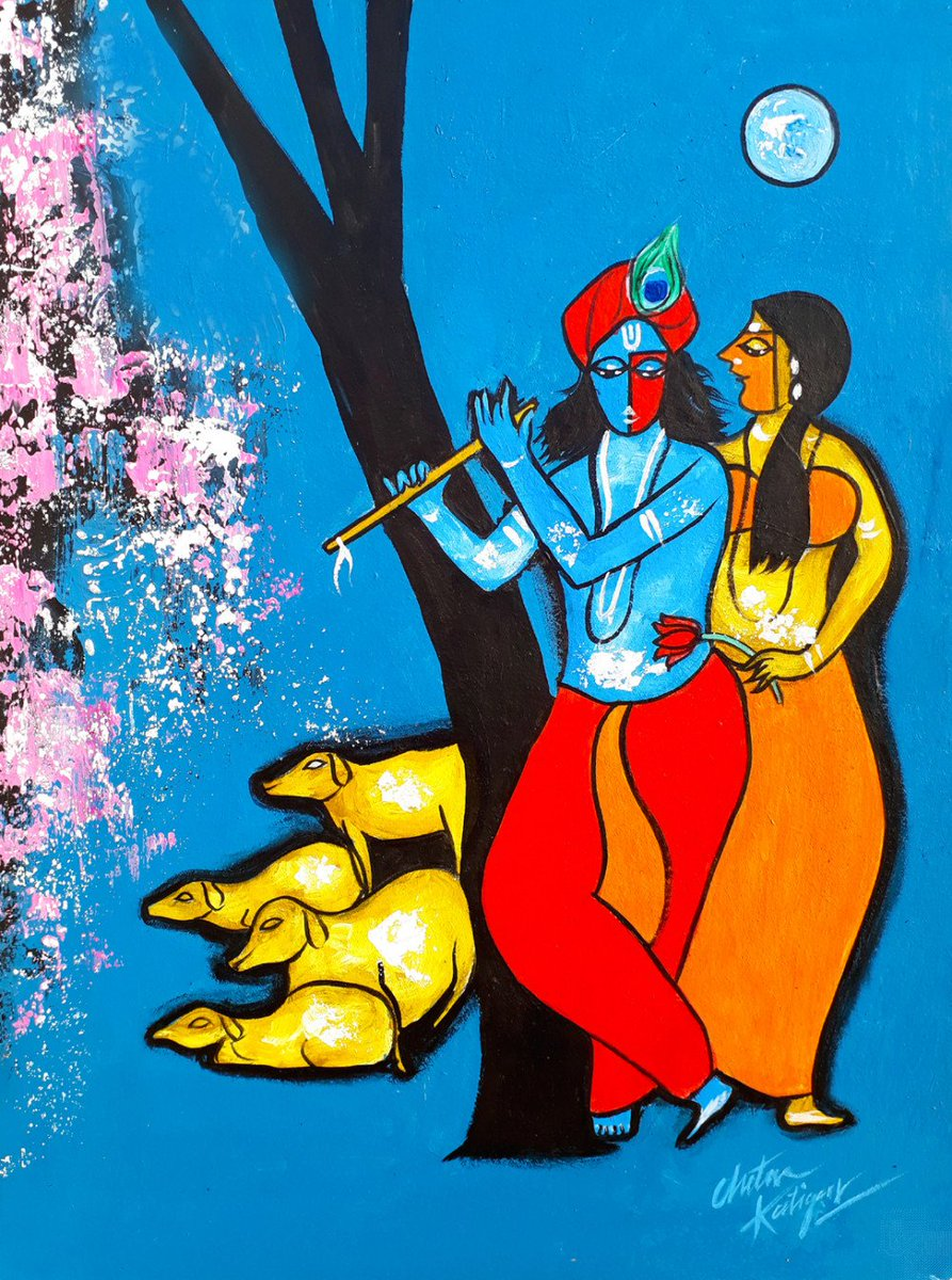 Bestcollegeart On Twitter Artworkoftheday Romantic Radha Krishna From Chetan Katigar Https T Co Dt3a9wqk8y Radhakrishna Love Romance Originalart Https T Co Zar6pqk5el