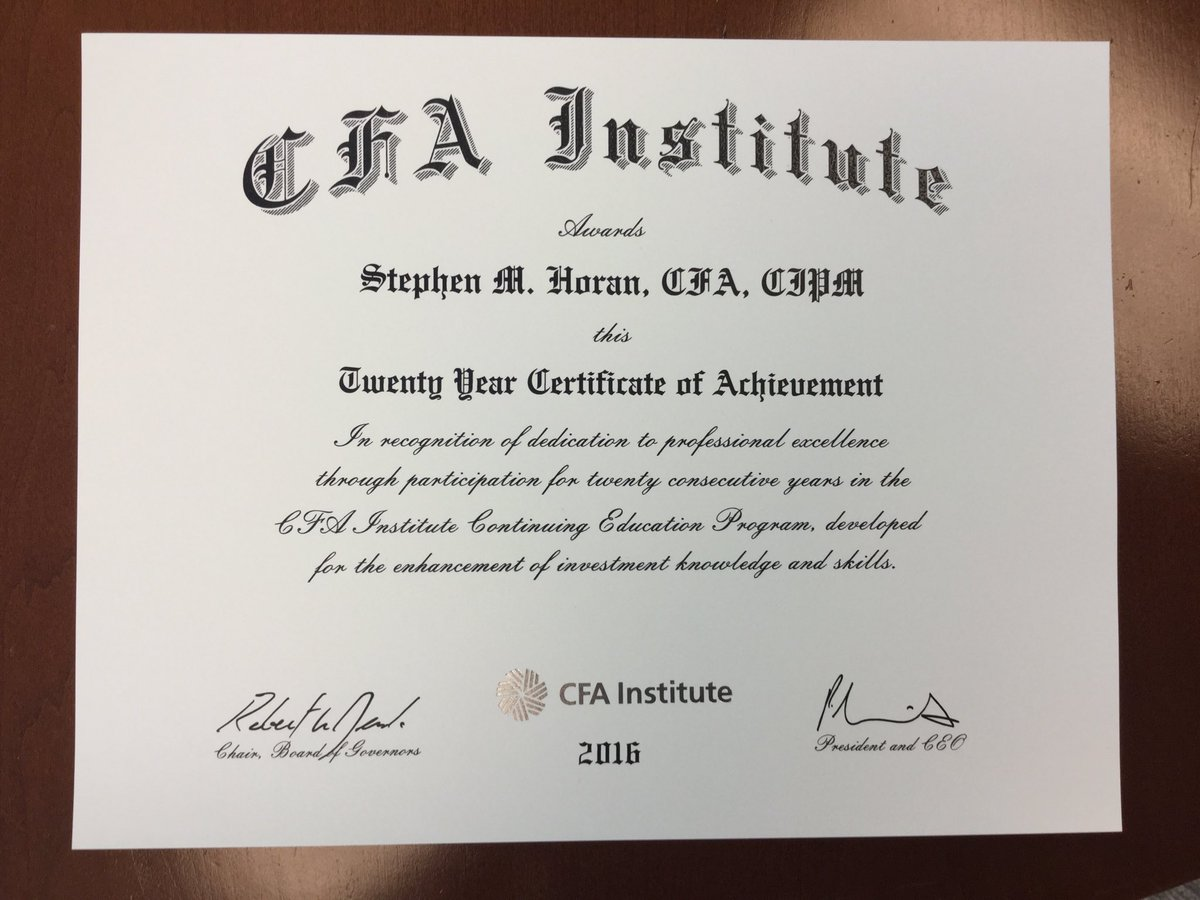 Stephen Horan Cfa Cipm Caia On Twitter Just Received My