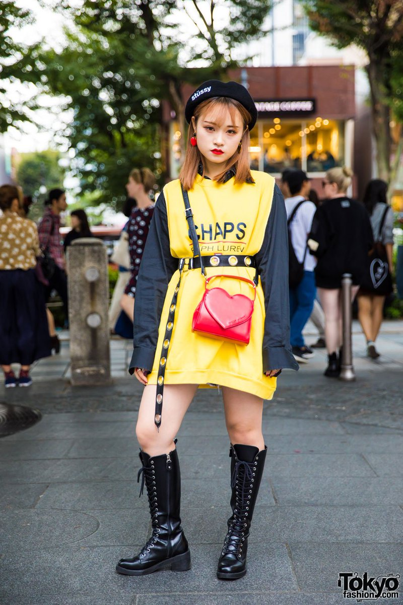 30c49d9cab7 18 yr old in harajuku w stussy beret chaps ralph lauren top open the door  shorts